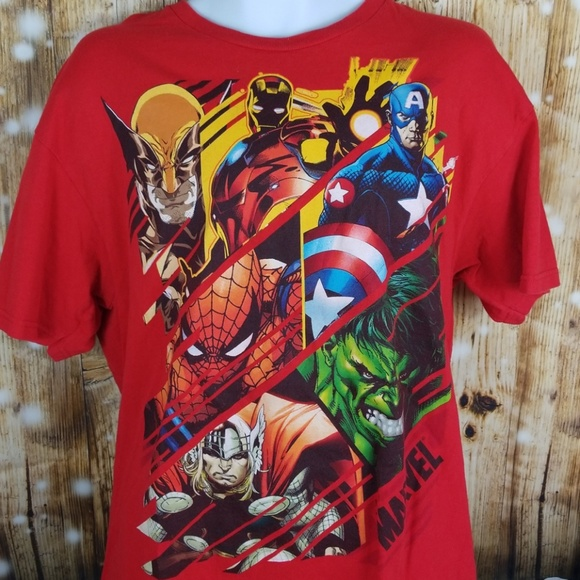 MARVEL COMICS Button Front Dress T Shirt Mens M New Captain America Hulk Thor